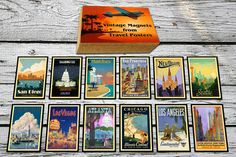 travel poster 12 Vintage Fridge Magnets from  by elcomdesign