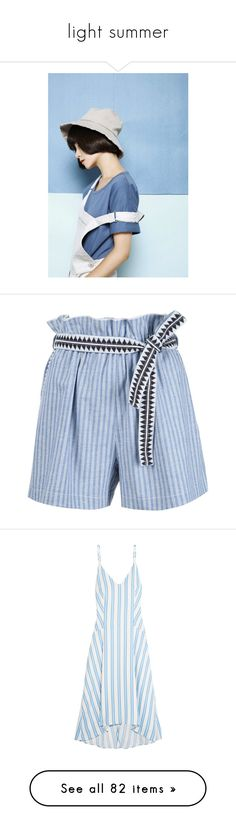 """""""light summer"""" by fufuun ❤ liked on Polyvore featuring backgrounds, модели, shorts, bottoms, short, blue, short cotton shorts, lemlem, blue cotton shorts and blue short shorts"""