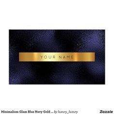 Minimalism Glam Blue Navy Gold Metallic Vip Pack Of Standard Business Cards