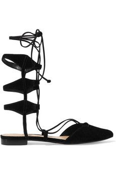 Schutz Tao lace-up suede flats | THE OUTNET