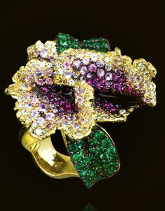 Andre Marcha - Orchid Ring set with Sapphires, Tsavorites and White Diamonds, 18K Yellow Gold.