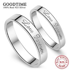 [Visit to Buy] Sterling Silver Jewelry 925 Pure Silver Rings  Forever Love Anniversary Ring Set for Men / Women Simple Style silver 925 jewelry #Advertisement