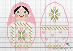 Cross-stitch Biscornu set idea... no color chart available, just use pattern chart as your color guide.. or choose your own colors...    Matryoshka hama perler beads pattern