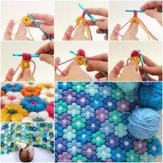 DIY Crochet 6 Petal Puff Stitch Flower Blanket