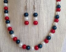 Red, White and Blue Necklace, Bridesmaid Jewelry, Fourth of July Wedding, Bridesmaid Gift, 4th of July Jewelry, Pearl Necklace