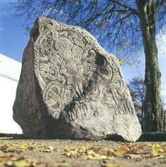 "Vikings:  Harald ""Bluetooth"" Gormsson's runestone. Jelling, #Denmark. #Vikings."