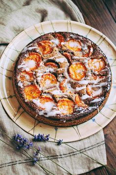 Nut cake with apricots and lavender