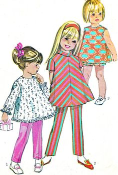 1960s Girls Pants Shorts and Tunic Pattern by paneenjerez on Etsy, $7.00