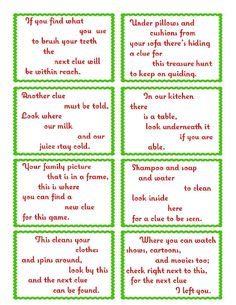 Treasure Hunt Clue Cards - Page 1 | elfoutfitters.com #elfoutfitters free printable