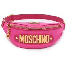 See this and similar items on Polyvore - A bold nylon Moschino fanny pack with gold-tone logo lettering across the front. Adjustable leather belt. The top zip o...
