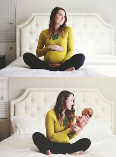 before and after- maternity photo and newborn photo