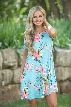 Run For The Roses Dress Aqua - The Pink Lily