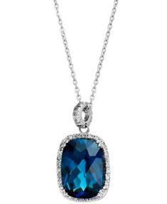 14k White Gold Necklace, London Blue Topaz (15 ct. t.w.) and Diamond (1/4 ct. t.w.) Rectangle Pendant