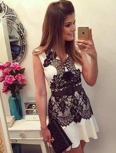 vestidos de festa preto e branco de renda - Pesquisa Google