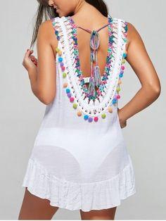 Flounce Fringed Crochet Cover-Up Dress Boho Fashion, Fashion Outfits, Cheap Fashion, Bohemian Mode, Crochet Cover Up, Crochet Shirt, Crochet Woman, Mode Hijab, Casual Fall Outfits