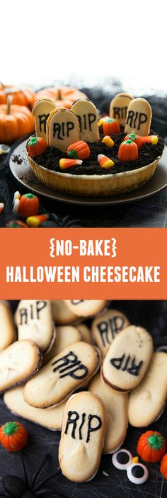 A festive Halloween cheesecake made with Sara Lee Original Cream Cheesecake from @chelsealords.