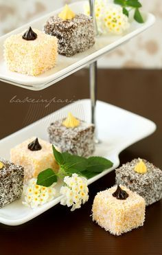 Chocolate & passion fruit lamington I most likely would not be able to pull these off, but how pretty are they?
