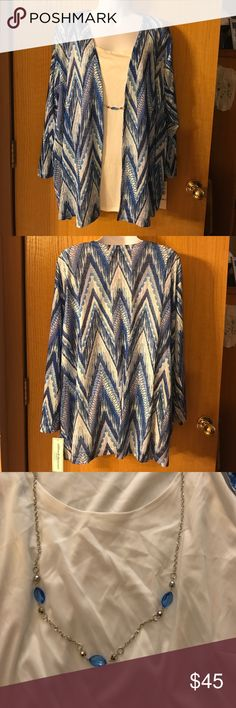 Women's Alfred Dunner Top With Necklace, Size 1X This top is brand new with tags.  It is all one piece and the necklace is removable for washing and the cover is sheer and colorful with 3/4 sleeves. Alfred Dunner Tops Blouses