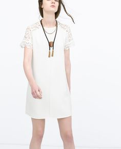 {LOOSE DRESS WITH GUIPURE LACE YOKE from Zara - under $100} #springstyle #spring2015