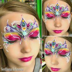 Princess Face Painting, Girl Face Painting, Face Painting Designs, Body Painting, Mask Makeup, Face Paint Makeup, Easter Face Paint, Cool Face Paint, Special Effects Makeup