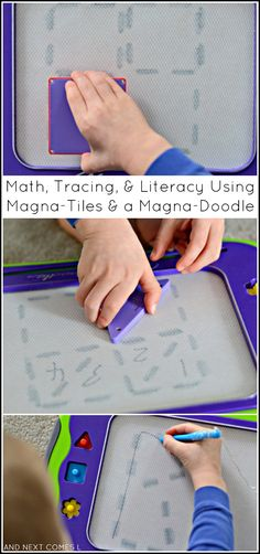 Using Magna-Tiles and a Magna-Doodle to work on shapes, math, fractions, literacy, and prewriting skills from And Next Comes L