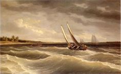 Boat navigating the waves by Thomas Birch