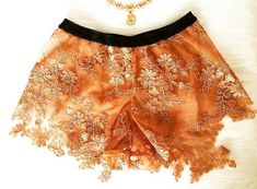 V Cortesi's Bronze & Gold Floral Embroidered French Knickers | Esty Lingerie