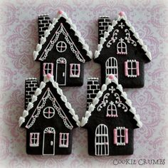 winter cottage cookies by mint Fancy Cookies, Vintage Cookies, Cute Cookies, Royal Icing Cookies, Cupcake Cookies, Cupcakes, Bolacha Cookies, Galletas Cookies, Christmas Gingerbread House