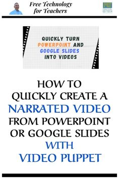 Video Puppet will take your PowerPoint slides and convert them into a narrated video for you. Video Puppet is free without registering on the site for a maximum of twenty slides. Teaching Strategies, Teaching Math, Teaching Resources, Google Classroom, Music Education, Education Jobs, Education Quotes, Physical Education, Higher Education