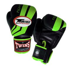 TWINS SPECIAL FIGHTING SPIRIT BOXING GLOVES- PREMIUM LEATHER- GREEN BLACK  Item Id: FBGV43G-GREEN