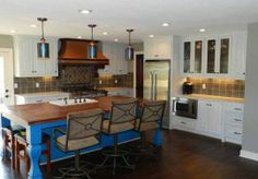 Beautiful Blue Cabinets on kitchen island - Kitchen Remodel by Built By Design #KansasCity