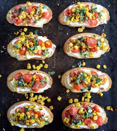 Italian inspiration.   Summer Crostini with Whipped Roasted Garlic Goat Cheese I howsweeteats.com