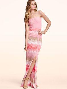 Strapless Maxi Dress , victoria secret , chevron