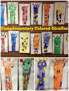 The Artsy Fartsy Art Room: Complementary Colored Giraffes with 1st & 2nd Grade