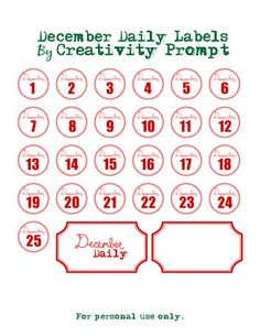 December labels by Avital. December Daily is a wonderful idea, initiated and developed by the awesome Ali Edwards.