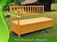 Holz Truhenbank Sitzbank Gartenbank Holzbank Auflagenbox Gartentruhe M01