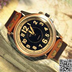 Handmade Leather Mens Wrist Watch by Carlydiy on Etsy, $16.99