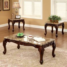 Furniture of America Carnes Dark Cherry 3 Piece Accent End Sofa Coffee Table Set & Small Wood Coffee Table with Marble Finish Top (Small Wood Coffee ...