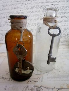 Two Antique Medicine Bottles With Skeleton Keys by tuscanroad, $17.00