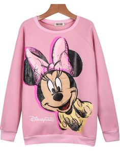 Pink Long Sleeve Mickey Print Loose Sweatshirt 17.00