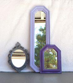 Lilac Purple Grey Upcycled Ornate Mirror Collection Modern Mirror set of 3 Gray Purples Nursery Elegant Bedroom decor. $41.00, via Etsy.