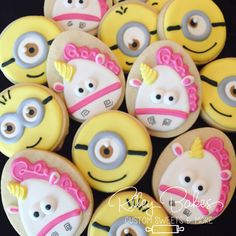 Minions Cookies, Minions Party, Minions Birthday Party Favors, Minions Cake, Unicorn Cookies, Unicorn Birthday by RileyBakes on Etsy https://www.etsy.com/listing/539256451/minions-cookies-minions-party-minions