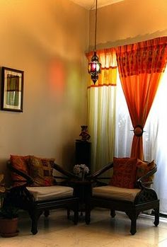 Ethnic Style Love That Single Hanging Lamp And The Orange Curtains Indian Living RoomsIndian