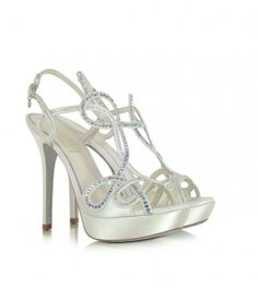 Loriblu Ivory Satin Platform Sandal 36 US Stilettos, Shoe Department, Beautiful High Heels, Gold Sandals, Wedding Shoes, Bridal Shoes, Wedding Dresses, High Fashion, Women's Fashion