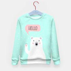 Cute Winter Polar Bear says Hello-  Illustration - DESIGN -  Kid's Sweater Brand Store, Winter Sweaters, Cute Quotes, Say Hello, Polar Bear, Graphic Sweatshirt, Illustration, Sayings, Stylish