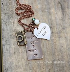 Mixed metal photographer necklace - keep calm and snap on, capture life. $36.00, via Etsy.