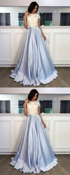 elegant cap sleeves prom dresses, chic sky blue evening dresses, cute lace formal party dresses.