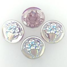 These buttons are hand pressed glass Czech Glass Button Vase Lavender AB 18mm 4 Pieces