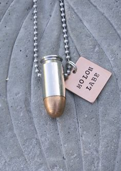 Items similar to Molon Labe Bullet Jewelry Necklace, Hand Stamped, 45 Caliber or Nickel Plated Bullet on Stainless Steel Ball Chain on Etsy Gun Jewelry, Jewelry Necklaces, Unique Jewelry, Bullet Casing Jewelry, Molon Labe, Ball Chain, Cool Things To Make, Hand Stamped, Dog Tag Necklace