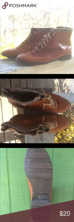 Brown Leather ankle boots Brown leather ankle boots, they have some detailing around the top and tan laces. Laces are long enough to tie but I always worn untied. Very cute and stylish, plus they're already worn in! Shoes Ankle Boots & Booties